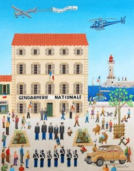 L'inauguration du musée la gendarmerie de Saint-Tropez 65X55cm