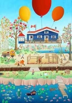 La maison bleue en travaux 55x38cm 1900€