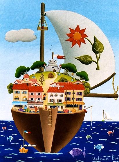 Le bateau 35x27cm