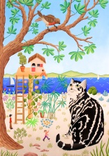 Le chat et l'oiseau 42x30cm