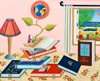 Le monde des livres,46x38cm