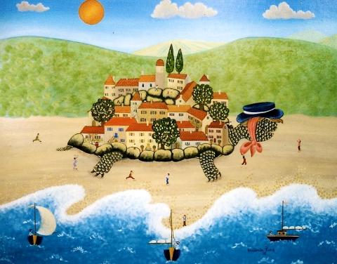Le village de la tortue 38x46cm