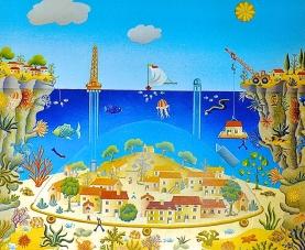 Le village sous la mer 46x55cm