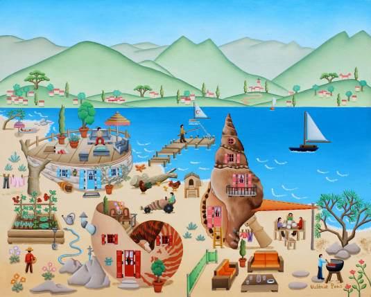 Vacances au bord de l'eau 33x41cm. 1000€